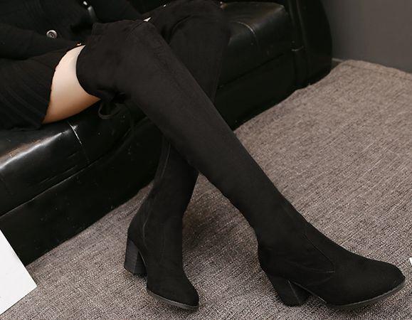 stiefel schwarz up knie schenkel absatz 8 cm komfortabel simil leder 9365