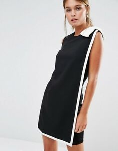 c087bba015ed Ted Baker Bow Trim Black White Colour Block Tunic Shift Dress