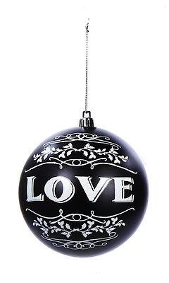 kurt s adler 425 shatterproof black white painted love - Black And White Christmas Ornaments