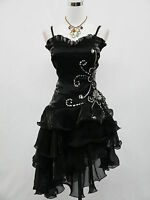 Cherlone Plus Size Satin Black Lace Prom Cocktail Party Ball Evening Dress 18-20