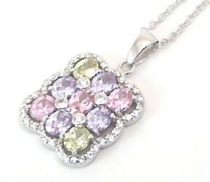 Sterling-Silver-Necklace-Multi-color-with-Border-Brand-New