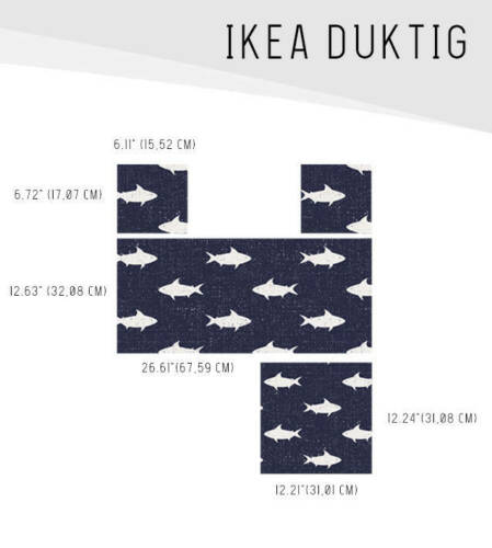IKEA DUKTIG removable Decal adhesive sticker furniture dark blue and white shark