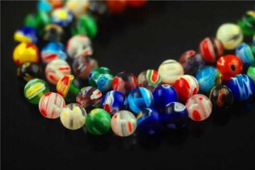 6mm 8mm 10mm Colorized Round Flower Millefiori Glass Beads Craft Jewelry Finding