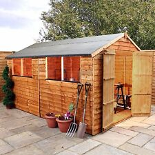 12x8 Wooden Overlap Garden Storage Shed Windows Double Door Apex Roof 12ft  8ft