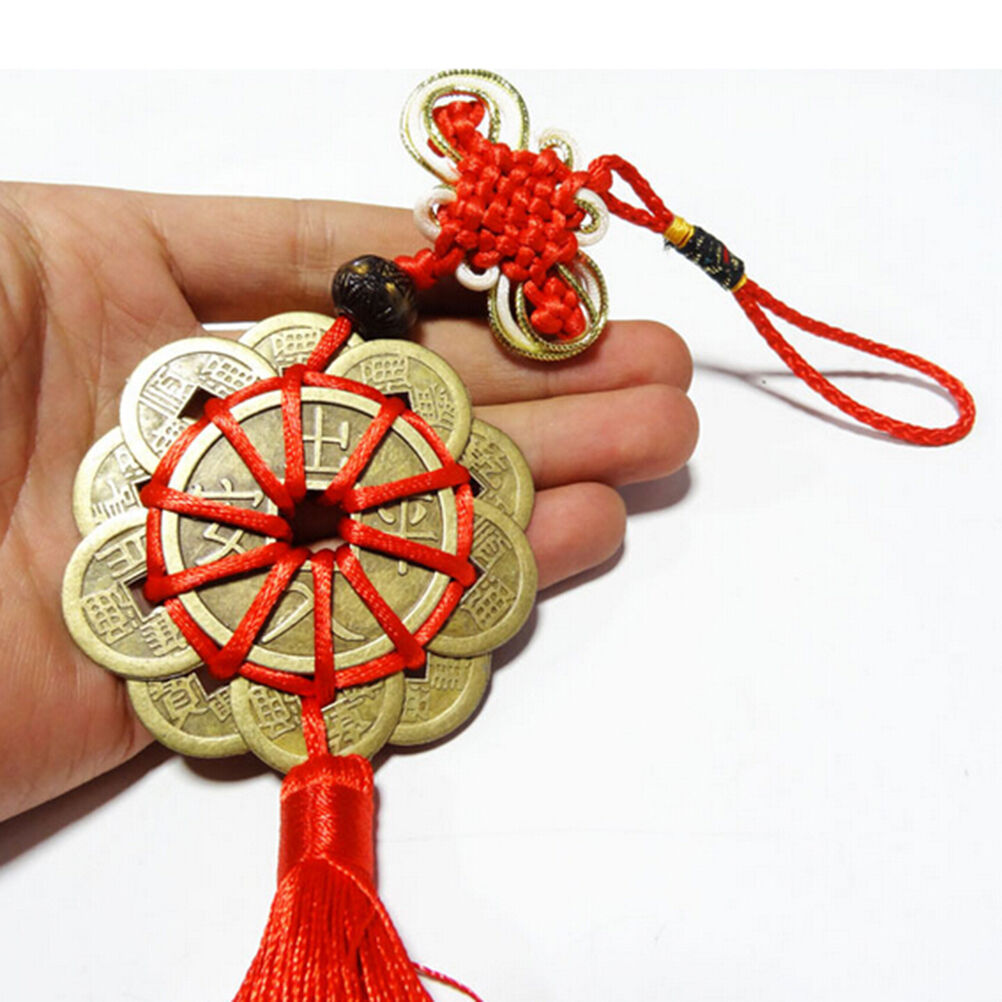 Feng Shui Mystic Knot 10 Chinese Lucky Coins Cures Home Career Health Wealth RF