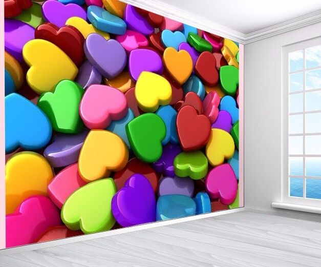 3D hearts colourful wallpaper photo wall mural (12215002) kid's bedroom