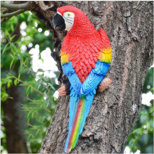 Papagei Vogel Dekofigur Zaun Deko Gartendeko Gartenfigur für Innen und Außen WY