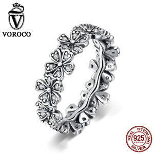 VOROCO-925-Sterling-Silver-Cluster-Flower-Band-Rings-With-AAA-CZ-Thail-Silver