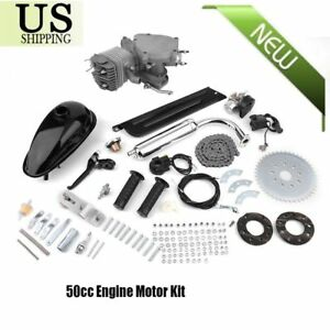 50cc-2-Stroke-Cycle-Motor-Kit-Motorized-Bike-Petrol-Gas-Bicycle-Engine-Silver