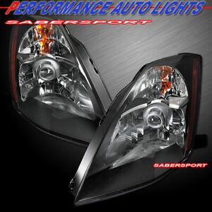 Set of Pair Black Headlights (Halogen Version) For 2003-2005 Nissan 350Z