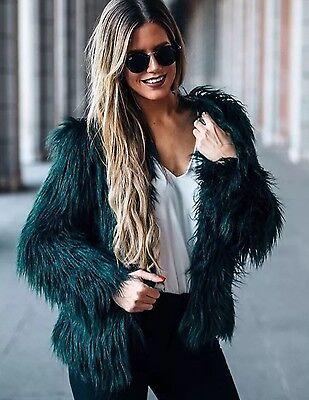 zara Short Faux Fur Jacket Coat S 2016 Bottle Green
