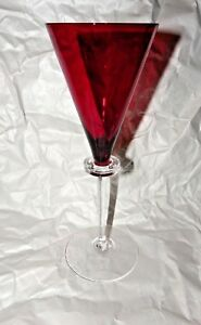 "Glass Pottery & Glass Frank Signed 10"" Red Crystal Flute"