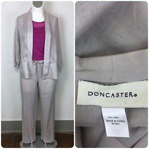 $598 DONCASTER L 14/16 Gray Linen Elastic Waist Pant Open Jacket Suit Set Pocket