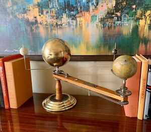 Trippensee-Planetarium-Brass-Maple-Orrey-Complete-Operational-See-Video-Demo
