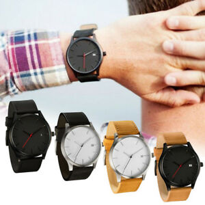 Men Sport Stainless Steel Wristwatches Leather Band Quartz Analog Wrist Watch