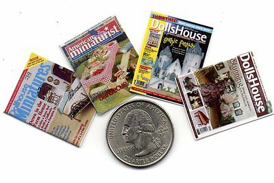 4  Miniature HALLOWEEN   MAGAZINES Dollhouse  1:12 scale OPENING PAGES