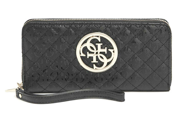 GUESS GIOIA Large Zip Around Schwarz, Damen Geldbörse Portemonnaie Wallet
