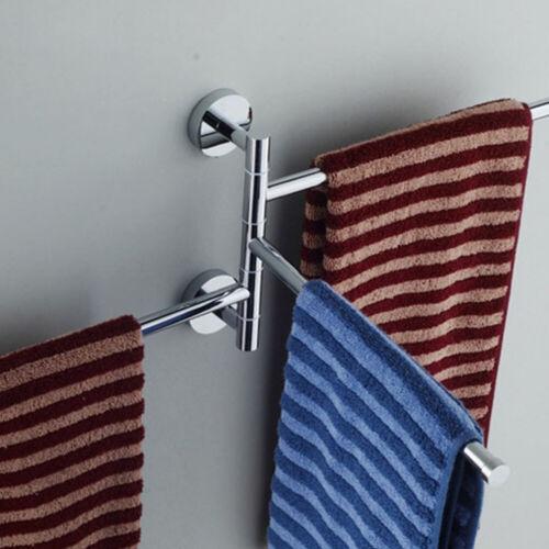 360° Wall Mounted Bathroom Towel Rack Stainless Steel Swivel Rail Hanger Shelf