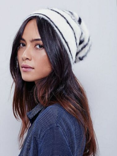 NEW FREE PEOPLE STRIPED GRIZZLY ANGORA BLEND BEANIE WINTER HAT