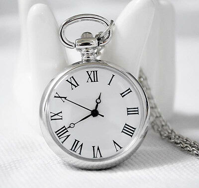 New Pocket Clock Roman Number Quartz Necklace Watch Pendant Sweater Chain Silver