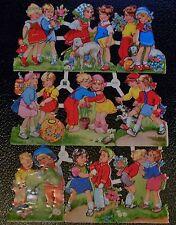 EAS 3058 Children Outside-Mid Modern Scrap Paper-Die Cut Glanzbilder Oblaten