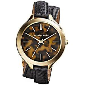 Michael-Kors-Uhr-MK2346-Runway-Damenuhr-Gold-Braun-Leder-Double-Wrap-NEU-amp-OVP