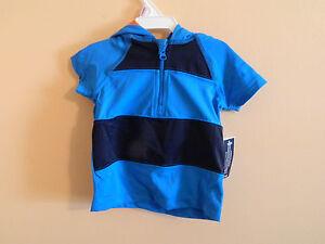 56a33c4f5 NWT baby gap boy blue striped hooded rash guard swim shirt w mask ...