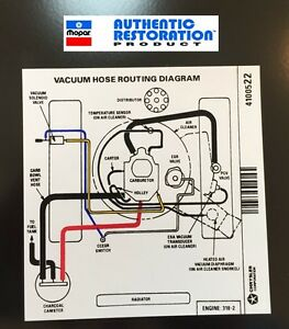 1976 Mopar 318 2V Vacuum Hose Routing Decal 76 Duster Fury