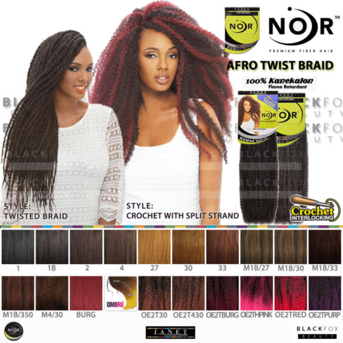 Janet Collection Noir Afro Marley Braid Kanekalon Synthetic Human Hair Feel 1b
