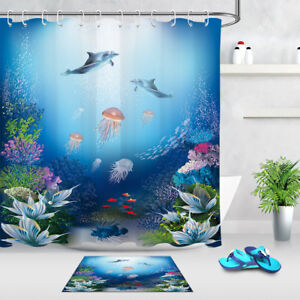 "60/72"" Ocean Jellyfish Dolphin Bathroom Fabric Shower Curtain Set Bath Accessory"