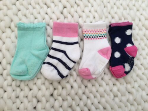 SALE NEW Tommy Stay On GRIP SOLE Socks 1-2 Size 12-24mos Baby Girls 3//4 Pack