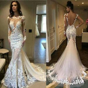 White Ivory Wedding Dresses Sexy Mermaid Bridal Gown Backless Long Sleeve Custom