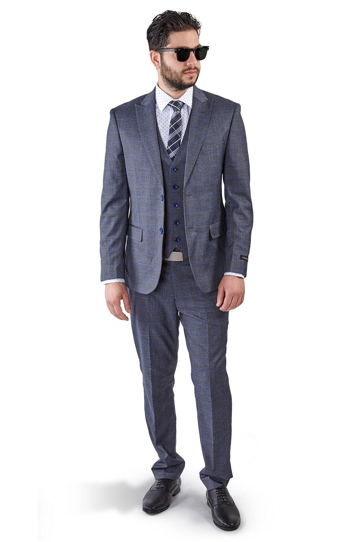 Slim Fit 2 Button Vest Optional Peak lapel Windowpane Plaid Suit Azar Grau 1698