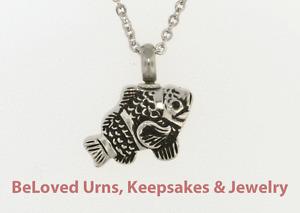 Detailed fish cremation jewelry keepsake pendant urn with for Fish cremation jewelry