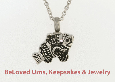 """Detailed Fish Cremation Jewelry Keepsake Pendant Urn With 20/"""" Necklace /& Funnel"""