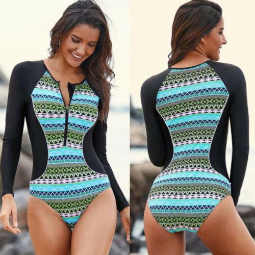Women Long Sleeve Swimsuit One Piece Swimwear Beach Zipper Bikini Surfing Padded