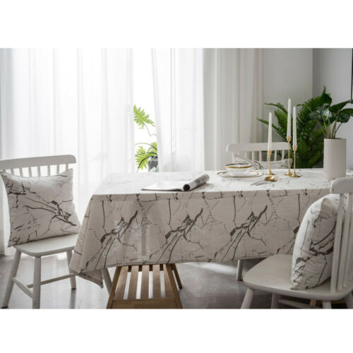 Modern Marble Tablecloth Table Cloth Cover Cotton Linen Dining Kitchen Home Deco