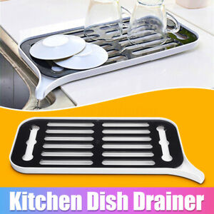 Kitchen-Dish-Drainer-Drip-Tray-Rack-Board-Sink-Drying-Holder-Washing-Up-Bowl-UK