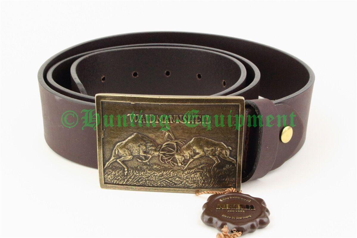 Gürtel  WAIDMANNSHEIL  Jagdgürtel Ledergürtel Bronzeschließe NEU