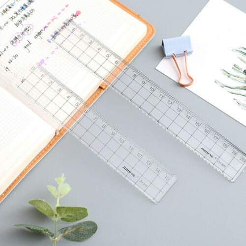 Transparent Plastic Straight Ruler MeasurementScale Tool Student School Suppl Kc