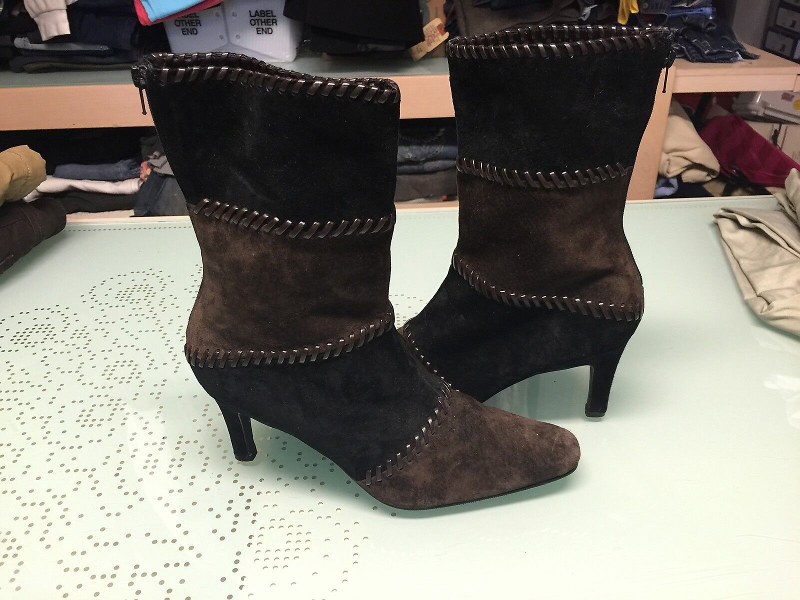 Brand New Newport News Brown/Black Suede Boots Womens Size 8