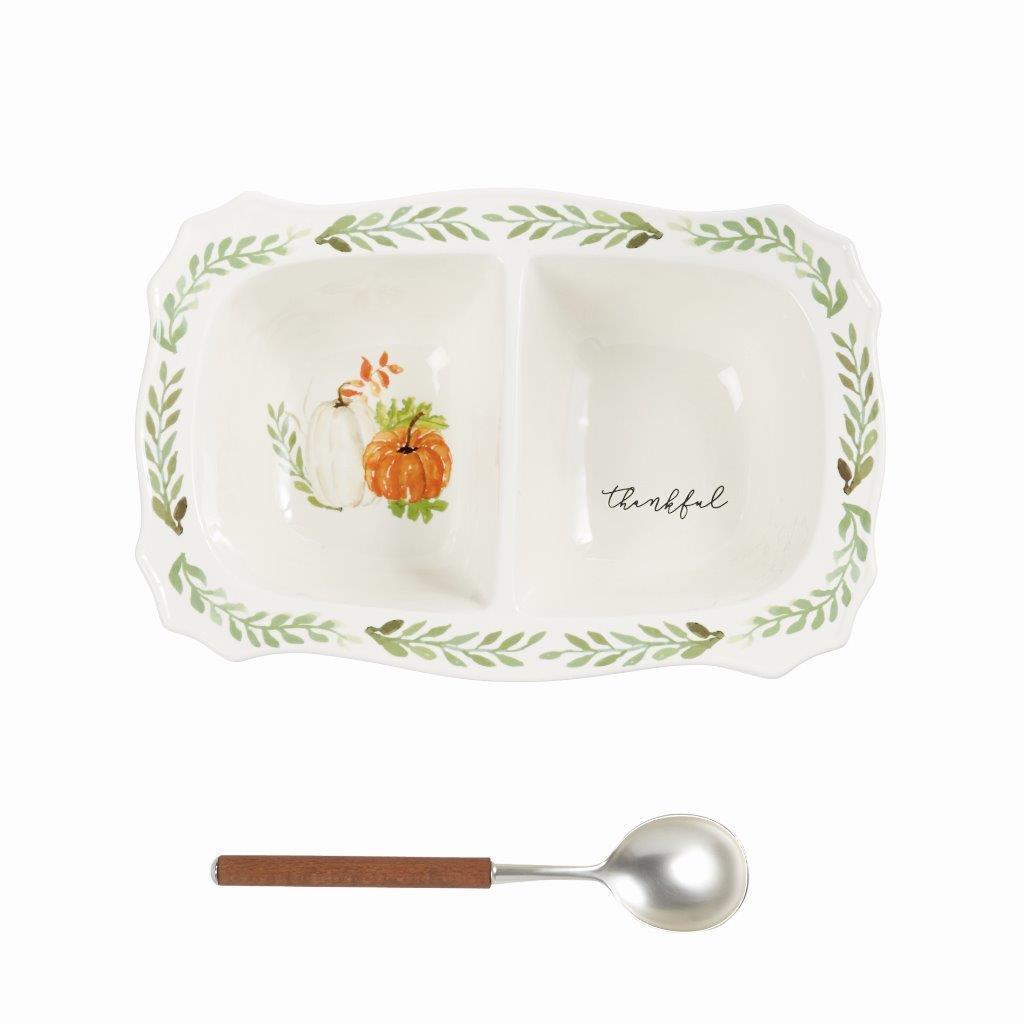 Mud pie Pumpkin Vine tacheté céramique divisé Serving Dish Cuillère Set 10  X 15