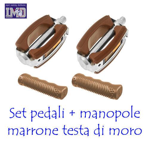 MANOPOLE Coppia pedali GRAZIELLA classici marroni gomma da bicicletta bici