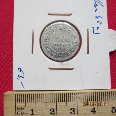 Notgeld Im Rahmen Iv Besorgt Deutschland Hamburg Bank 1/100 Verrechnungsmarke 1923