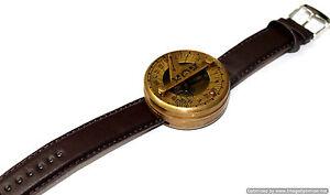 Marine-Nautical-Brass-Sundial-compass-Wrist-Watch-Vintage-style-Type-Working