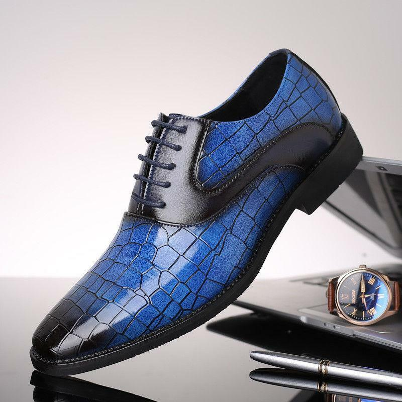 Mens British shiny Pointy Toe Wedding Party Formal Dress Oxford pu Leather shoes