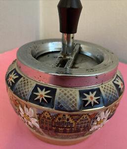 Vintage Handarbeit Spin Top Ashtray Germany
