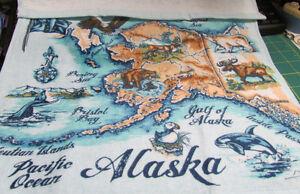 New-Alaska-Theme-Dish-Towel-Alaska-Map-with-animals-100-Cotton-Ships-worldwide