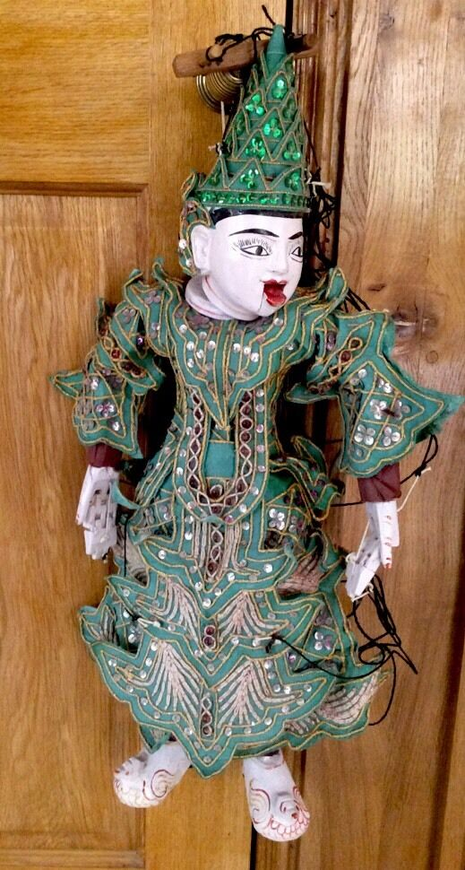 FABULOUS VINTAGE ORIENTAL WOODEN STRING PUPPET WITH MOVING MOUTH & JOINTED HANDS