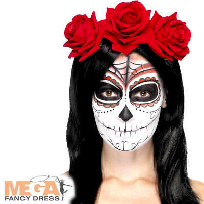 Giorno Dei Morti Rose Rosse Fascia Per Capelli Donna Halloween Fancy Dress Costume Adulto Ac-mostra Il Titolo Originale